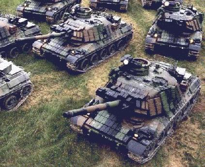 French AMX-30's neatly grouped together for destruction